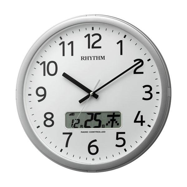 「スーパーセールポイント5倍」設定した時間にチャイムを鳴らす壁掛け時計 リズム 電波時計 4FNA01SR19 文字入れ対応、有料