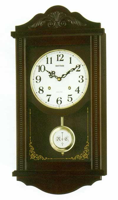 「スーパーセールポイント5倍」木枠の柱時計 リズム RHYTHM アタッシュマンR 壁掛け時計 4MJA01RH06 文字入れ対応、有料 取り寄せ品