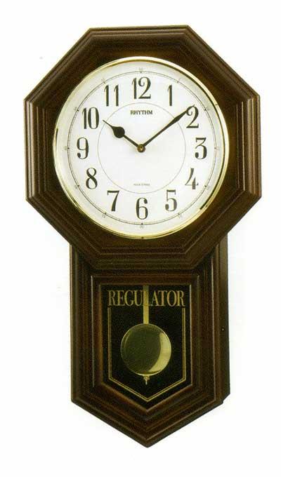 木枠の柱時計 リズム RHYTHM ベングラーR 壁掛け時計 4MJA03RH06 文字入れ対応、有料 取り寄せ品