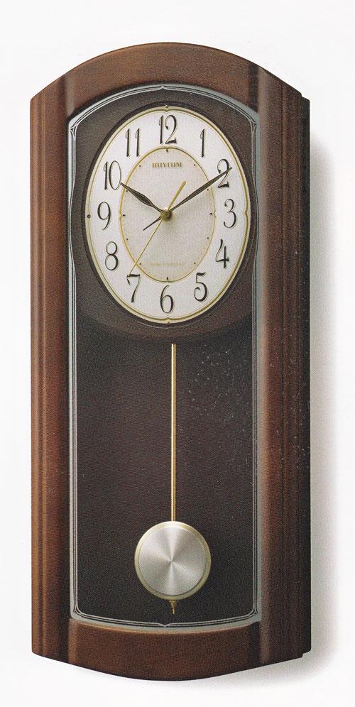 「スーパーセールポイント5倍」メロディ 振り子 柱時計 電波時計 木製 リズム RHYTHM 壁掛け時計 4MN475HG06 送料無料 文字入れ対応、有料 取り寄せ品