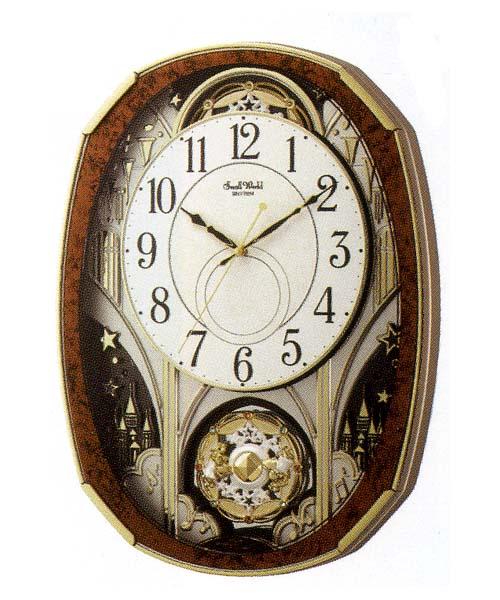 名入れ 時計 文字書き付き からくり時計 メロディ電波時計 壁掛け時計 4MN513RH23 取り寄せ品