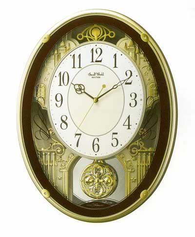 「スーパーセールポイント5倍」メロディ電波時計 壁掛け時計 スモールワールドプラウド 4MN523RH06 掛時計 リズム時計 文字入れ対応《有料》 取り寄せ品