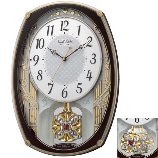 「スーパーセールポイント5倍」メロディ電波時計 壁掛け時計 4MN540RH06 スモールワールドレジーナ 掛時計 リズム時計 文字入れ対応、有料 取り寄せ品
