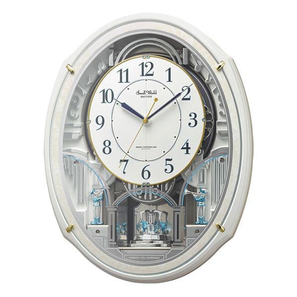 「スーパーセールポイント5倍」からくり時計 メロディ 電波時計 スモールワールドアルディN 4MN553RH03 リズム RHYTHM 文字入れ対応、有料 取り寄せ品