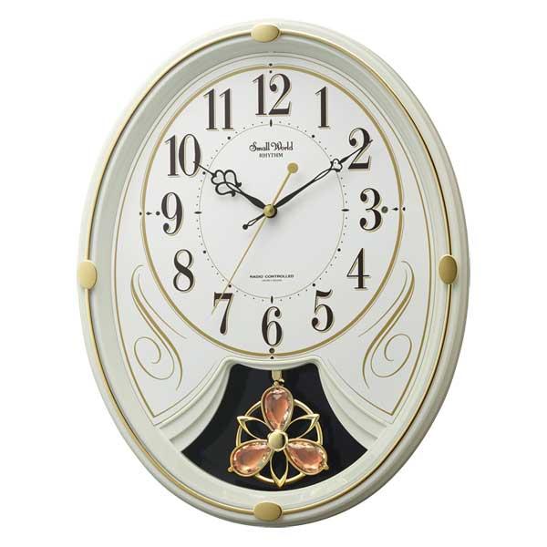 「スーパーセールポイント5倍」メロディ 電波時計 壁掛け時計 スモールワールドリリィN 4MN554RH10 掛時計 リズム RHYTHM 文字入れ対応、有料 取り寄せ品