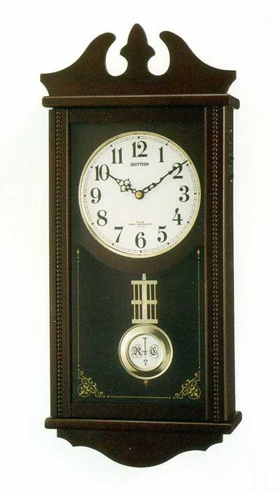 木枠の柱時計 電波時計 壁掛け時計 振り子 木製 リズム RHYTHM ペデルセンR 4MNA03RH06 文字入れ対応《有料》 取り寄せ品