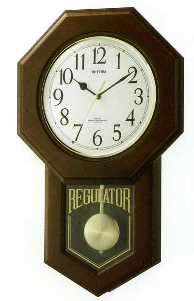 「スーパーセールポイント5倍」木枠の柱時計 電波時計 リズム RHYTHM モーランドR 壁掛け時計 4MNA06RH06 文字入れ対応、有料 取り寄せ品