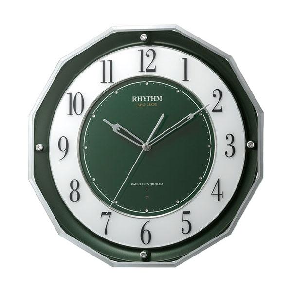 壁掛け時計 電波時計 スリーウェイブ 4MY846SR05 掛時計 リズム時計 文字入れ対応、有料 取り寄せ品