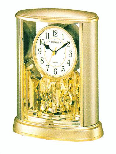 回転飾りつきのシチズン CITIZEN サルーン置時計4SG724-018 記念品に文字入れ対応、有料 取り寄せ品