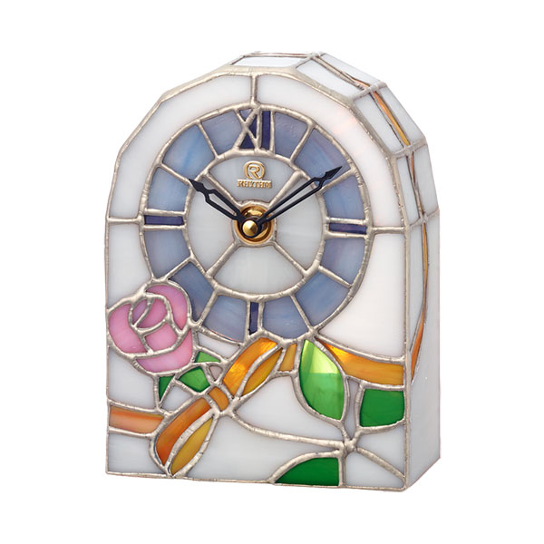 「スーパーセールポイント5倍」ステンドグラス 置き時計 リズム時計 RHYTHM 置時計 4SG795HG03 文字入れ対応、有料 取り寄せ品