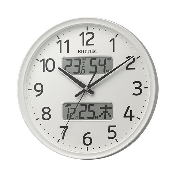 「スーパーセールポイント5倍」壁掛け時計 温度湿度 カレンダー付 電波時計 8FYA03SR03 文字入れ対応、有料 取り寄せ品