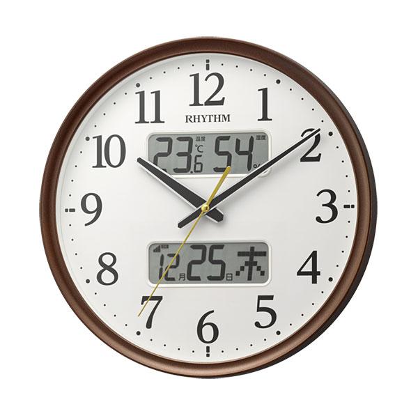 「スーパーセールポイント5倍」壁掛け時計 温度湿度 カレンダー付 電波時計 8FYA03SR06 文字入れ対応、有料 取り寄せ品
