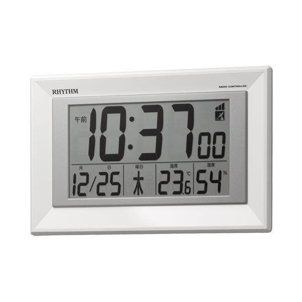 壁掛け時計 置き時計 掛置兼用 8RZ204SR03 リズム 電波時計 RHYTHM デジタル 文字 名入れ対応、有料 取り寄せ品