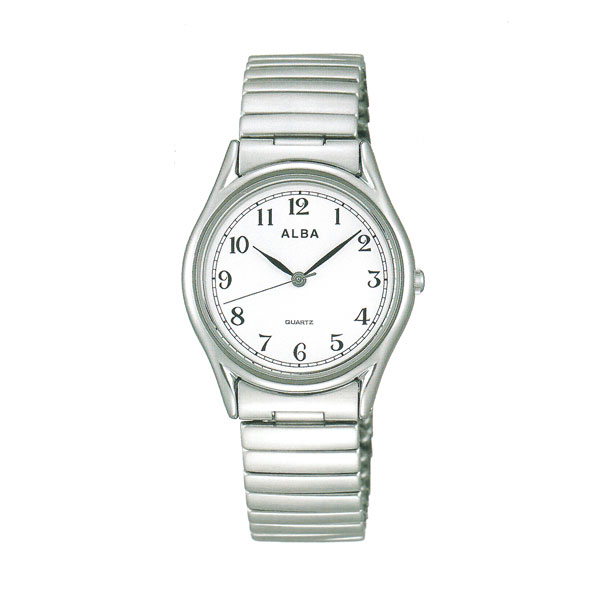 腕時計 メンズ ALBA アルバ 伸縮バンド AQGK439 電池式時計 蛇腹バンド じゃばら 伸び縮み 【名入れ刻印可能、有料】 【コンビニ受取対応商品】