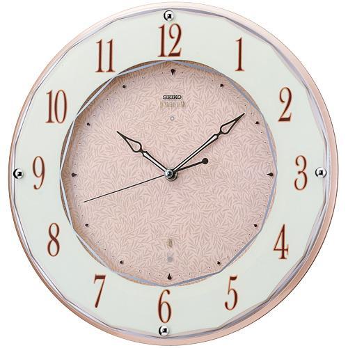 「20日21日限定ポイント5倍」壁掛け時計 セイコー SEIKO 電波時計 暗くなると秒針を止め 音がしない 掛時計 木製 連続秒針 おしゃれ エンブレム HS524A 文字入れ対応《有料》 送料無料 取り寄せ品