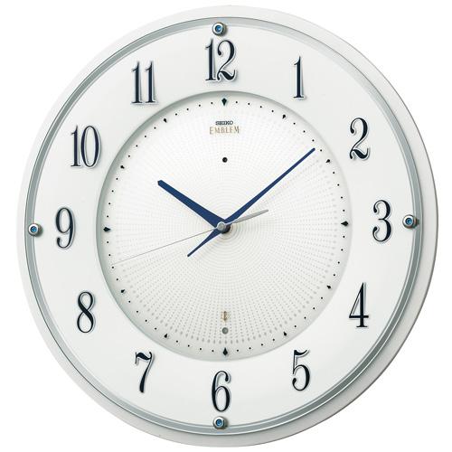 暗くなると秒針を止め 音がしない 壁掛け時計 セイコー SEIKO 電波時計 連続秒針 エンブレム EMBLEM HS543W 文字入れ対応《有料》 送料無料 取り寄せ品