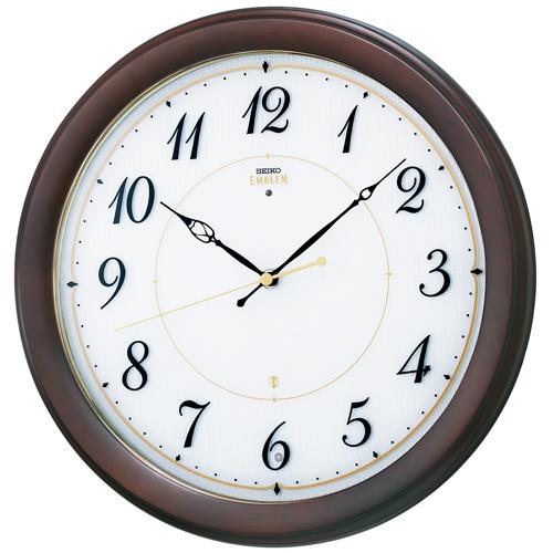 「スーパーセールポイント5倍」暗くなると秒針を止め 音がしない 壁掛け時計 連続秒針 木製 セイコー SEIKO 電波時計 エンブレム EMBLEM HS547B 文字入れ対応《有料》 送料無料 取り寄せ品