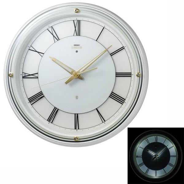 暗くなると光る 壁掛け時計 セイコー HS550W 電波時計 エンブレム SEIKO EMBLEM 文字入れ対応、有料 送料無料 取り寄せ品