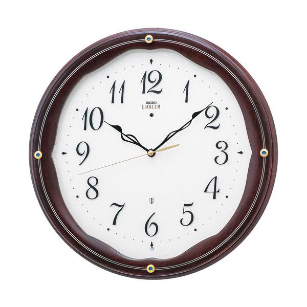 壁掛け時計 セイコー HS551B 電波時計 エンブレム 木枠 SEIKO EMBLEM 文字入れ対応、有料 送料無料 取り寄せ品