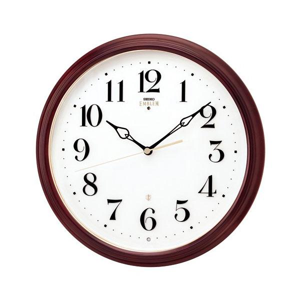 壁掛け時計 セイコー HS553B 電波時計 エンブレム 木枠 SEIKO EMBLEM 裏面のみ文字入れ対応、有料 送料無料 取り寄せ品