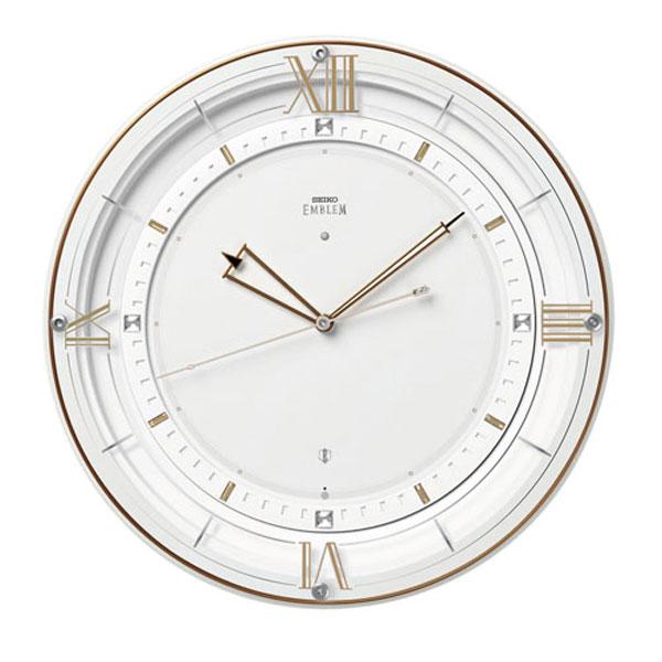 壁掛け時計 セイコー HS556W 電波時計 エンブレム SEIKO EMBLEM 文字入れ対応、有料 送料無料 取り寄せ品