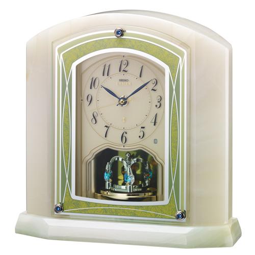 「スーパーセールポイント5倍」オニキス枠 置き時計 セイコー SEIKO エンブレム電波時計 EMBLEM HW579M 文字入れ対応《有料》 送料無料 取り寄せ品