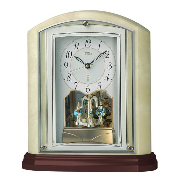 オニキス枠 置き時計 HW590M セイコー SEIKO エンブレム電波時計 EMBLEM 文字入れ対応、有料 送料無料 取り寄せ品