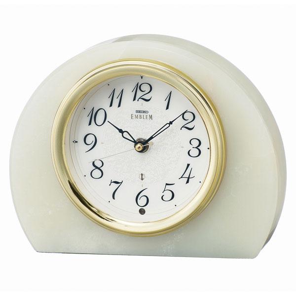 「スーパーセールポイント5倍」オニキス枠の置き時計 HW594M セイコー 電波時計 SEIKO エンブレム EMBLEM 文字入れ対応、有料 送料無料 取り寄せ品