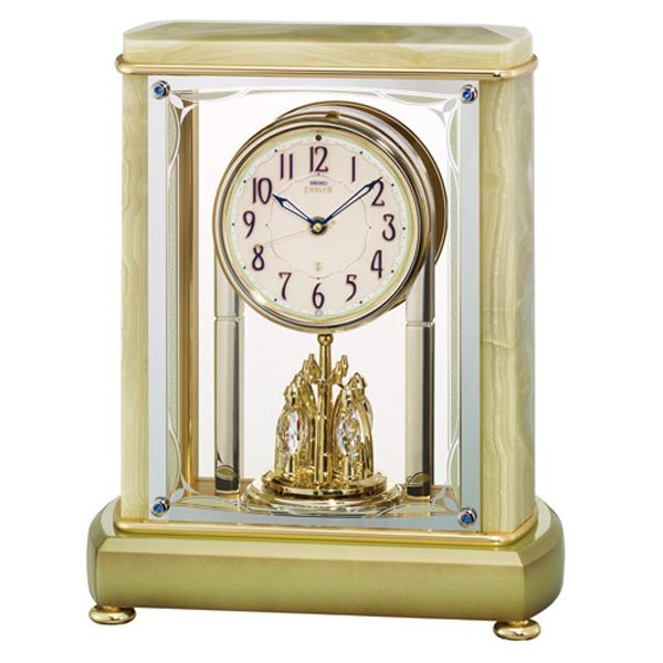 「スーパーセールポイント5倍」オニキス枠 置き時計 電波時計 セイコー SEIKO エンブレム EMBLEM HW597M 文字入れ対応、有料 取り寄せ品