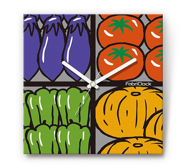 「野菜市場」をデザインのファブリック《布地》掛け時計 四角 受注生産品 【コンビニ受取対応商品】