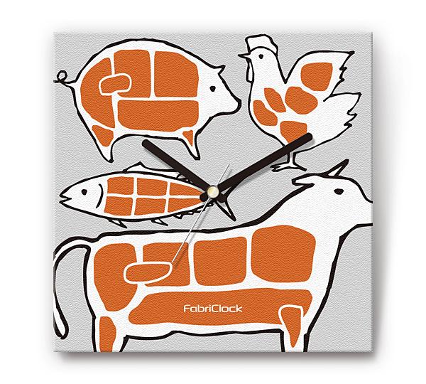 「お肉」をデザインのファブリック《布地》掛け時計 四角 受注生産品 【コンビニ受取対応商品】