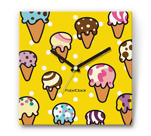 「アイスクリーム」の食品をデザインしたファブリック《布地》掛け時計 四角 受注生産品 【コンビニ受取対応商品】
