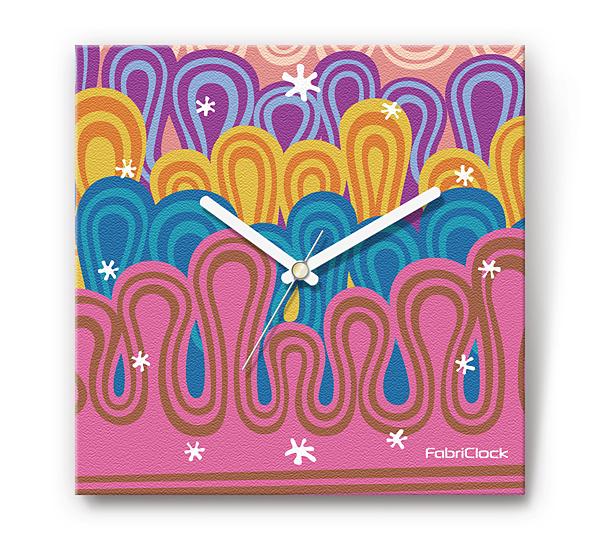 「ニョロニョロ」をデザインのファブリック《布地》かけ時計 四角 受注生産品 【コンビニ受取対応商品】
