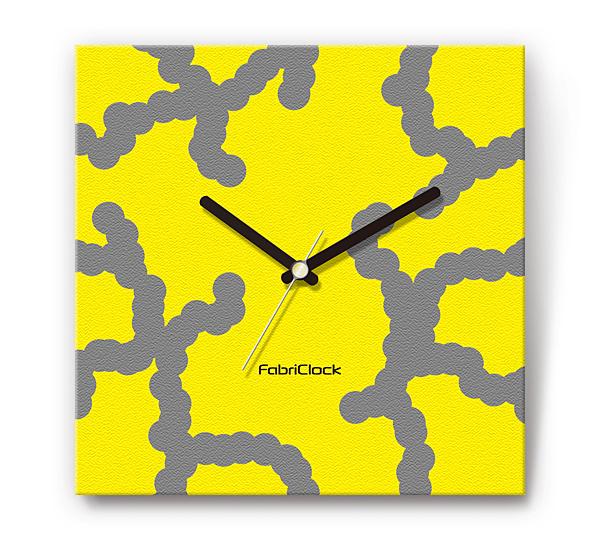 「DNA」をデザインのファブリック《布地》かけ時計 四角 受注生産品 【コンビニ受取対応商品】