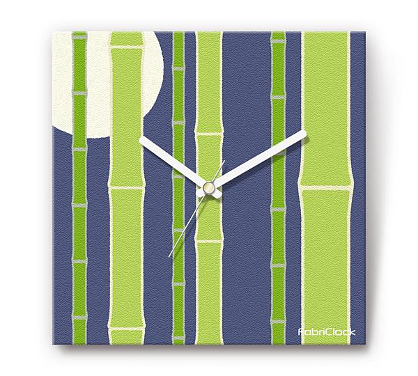 「月に竹」をデザインのファブリック《布地》かけ時計 四角 受注生産品 【コンビニ受取対応商品】