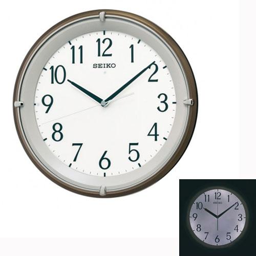「スーパーセールポイント5倍」暗くなるとライトが点灯する壁掛け時計 電波時計 掛時計 KX203B セイコー SEIKO 文字入れ対応、有料 取り寄せ品