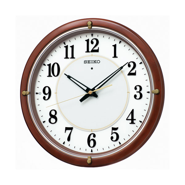 暗くなるとライトが点灯 秒針を止め 音がしない 壁掛け時計 電波時計 KX240B 掛時計 セイコー SEIKO 文字入れ対応、有料 取り寄せ品