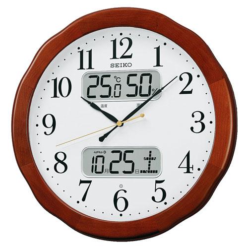 「スーパーセールポイント5倍」温度・湿度・デジタルカレンダー 電波時計 壁掛け時計 掛時計 KX369B セイコー SEIKO 文字入れ対応《有料》 取り寄せ品
