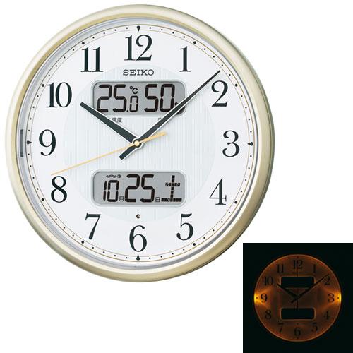 暗くなるとライトが点灯する壁掛け時計 温度・湿度・デジタルカレンダー 電波時計 掛時計 KX384S セイコー SEIKO 文字入れ不可 ZAIKO【店頭受取対応商品】