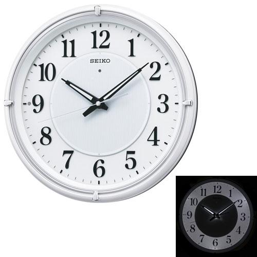 「スーパーセールポイント5倍」暗くなると光る壁掛時計 掛け時計 電波時計 KX393W セイコー SEIKO 文字入れ対応《有料》 取り寄せ品