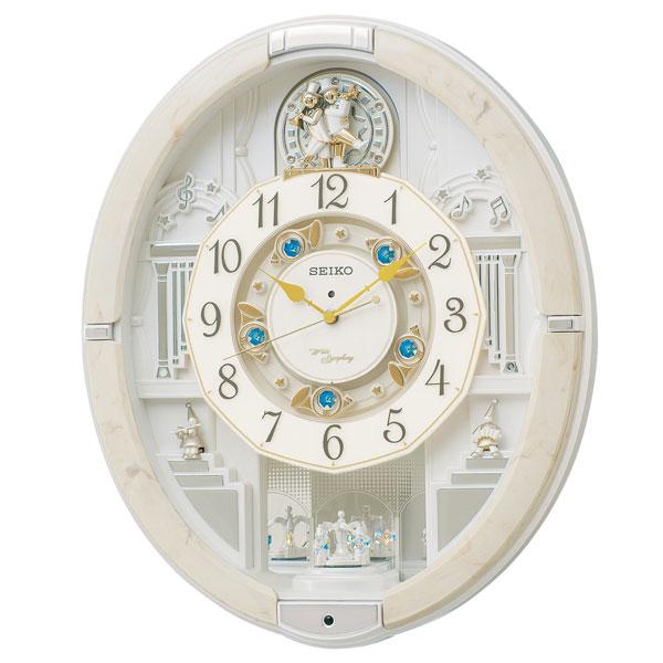 セイコーからくり時計 電波時計 掛け時計 ウェーブシンフォニー RE576A 文字入れ対応、有料 送料無料 取り寄せ品