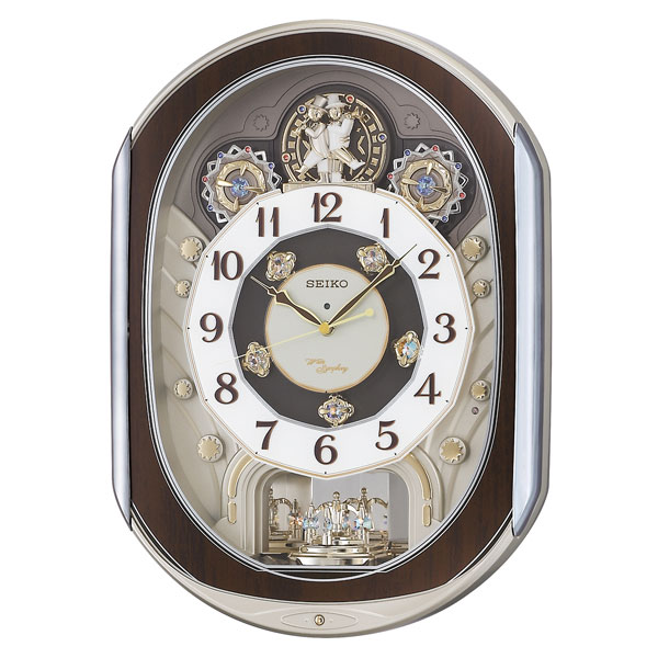 「スーパーセールポイント5倍」セイコーからくり時計 電波時計 掛け時計 RE578B ウェーブシンフォニー 文字入れ対応、有料 送料無料 取り寄せ品