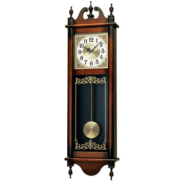 「スーパーセールポイント5倍」メッセージ 名入れ 文字名前入り セイコー 木枠 柱時計 電子音チャイム 振り子 壁掛け時計 木製 RQ306A 取り寄せ品 代金引換不可