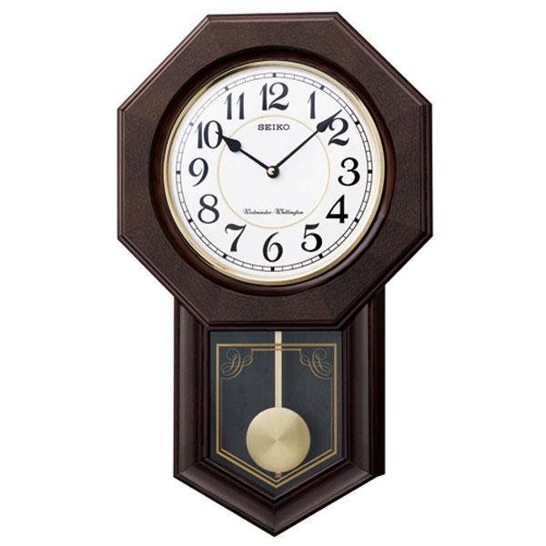 「スーパーセールポイント5倍」メッセージ 名入れ 文字 名前入り 振り子 壁掛け時計 セイコー 電子音チャイム 木枠 柱時計 RQ325B 取り寄せ品 代金引換不可