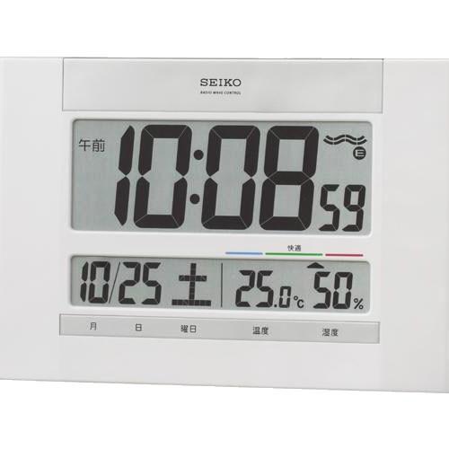 セイコー 温度湿度表示つきデジタル電波時計 壁掛け時計SQ429W  取り寄せ品