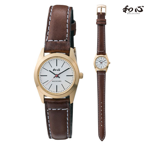 ピアノレザー 革バンド 日本製にこだわった腕時計 和心 わこころ WA-001L-E 女性用 時計 電池式 送料無料 名入れ刻印対応、有料  取り寄せ品