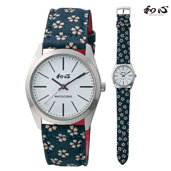 「マラソンポイント5倍」和心 わこころ 宇陀印傳 革バンド WA-001M-H 日本製にこだわった腕時計 男性用 時計 電池式 送料無料 名入れ刻印対応、有料  取り寄せ品
