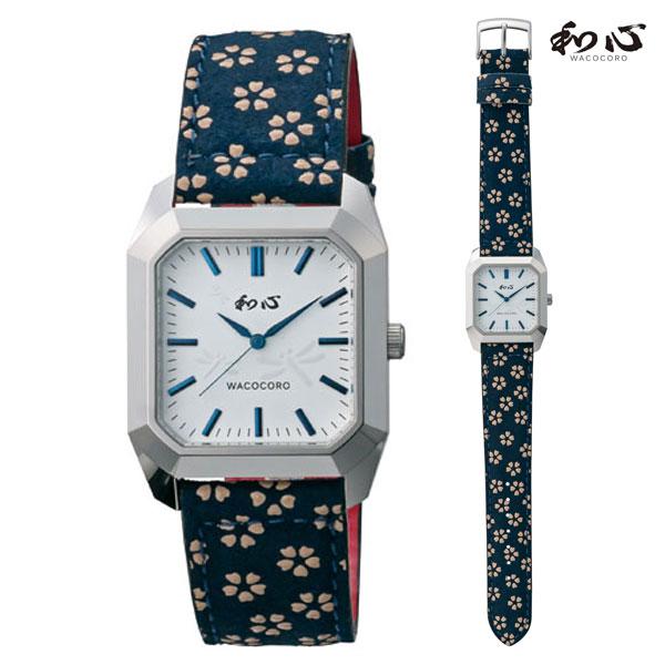 「マラソンポイント5倍」和心 わこころ 宇陀印傳 革バンド WA-002M-J 日本製にこだわった腕時計 男性用 時計 電池式 送料無料 名入れ刻印対応、有料  取り寄せ品