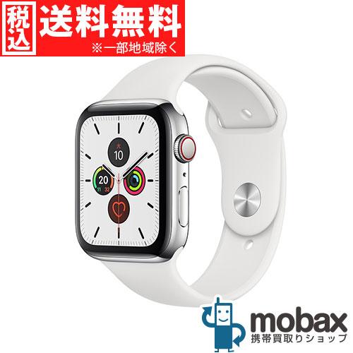 ◆5%還元対象◆【新品未使用(開封済)】 Apple Watch Series 5 44mm GPS + Cellularモデル [ステンレススチールケースとホワイトスポーツバンド] MWWF2J/A アップルウォッチ