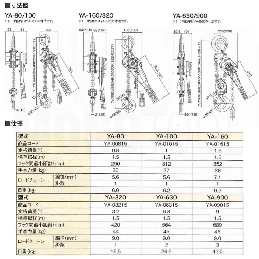 YA80 強力レバーホイスト 標準揚程1.5m YA-80 0.8t 送料無料! 在庫有り★即出荷! 象印
